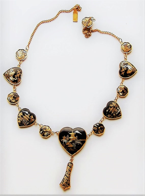 1940S /50s JAPANESE heart shaped DAMASCENE  NECKLA