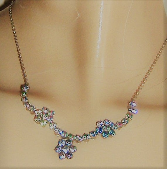 1950S   necklace RAINBOW DIAMANTE - image 1