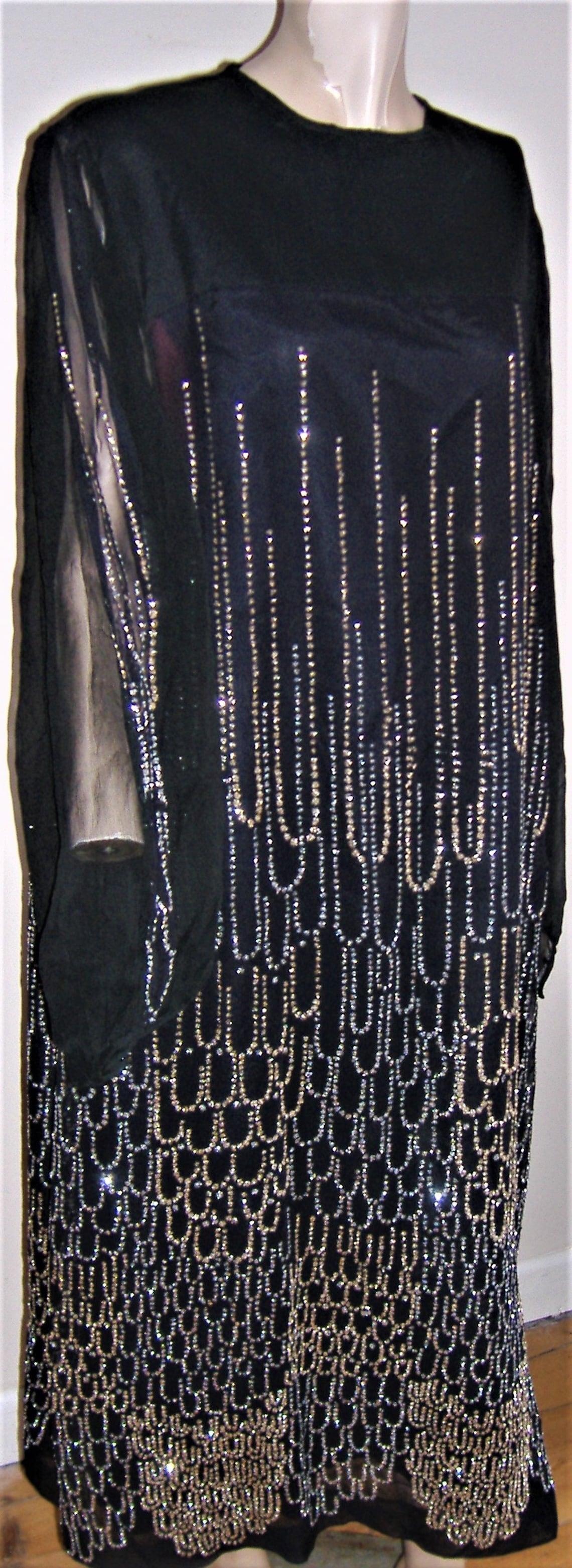 1950S  FAB BLACK Dress sparkly John Neville UK Size 14/16
