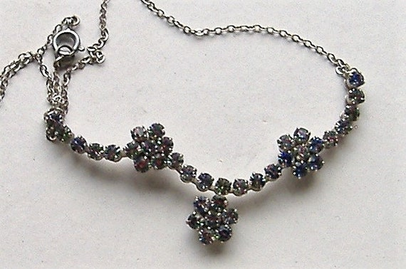 1950S   necklace RAINBOW DIAMANTE - image 3