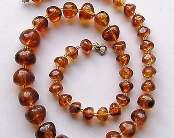 1950S   necklace PERSPEX faux amber