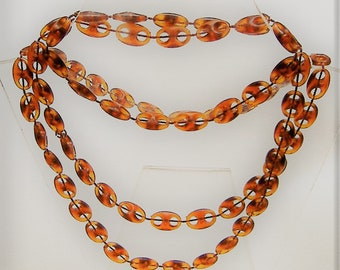 VINTAGE 1970S NECKLACE perspex beads long