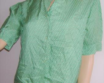 1930s GREEN SILK blouse handmade UK 12