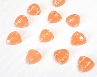 Natural Orange Jade 8mm to 20mm Trillion Checker Cut Loose Gemstone 8mm 9mm 10mm 11mm 12mm 13mm 14mm 15mm