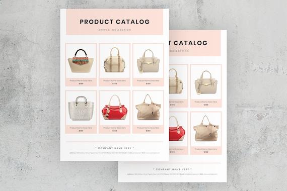 product catalog layout minimal line sheet template