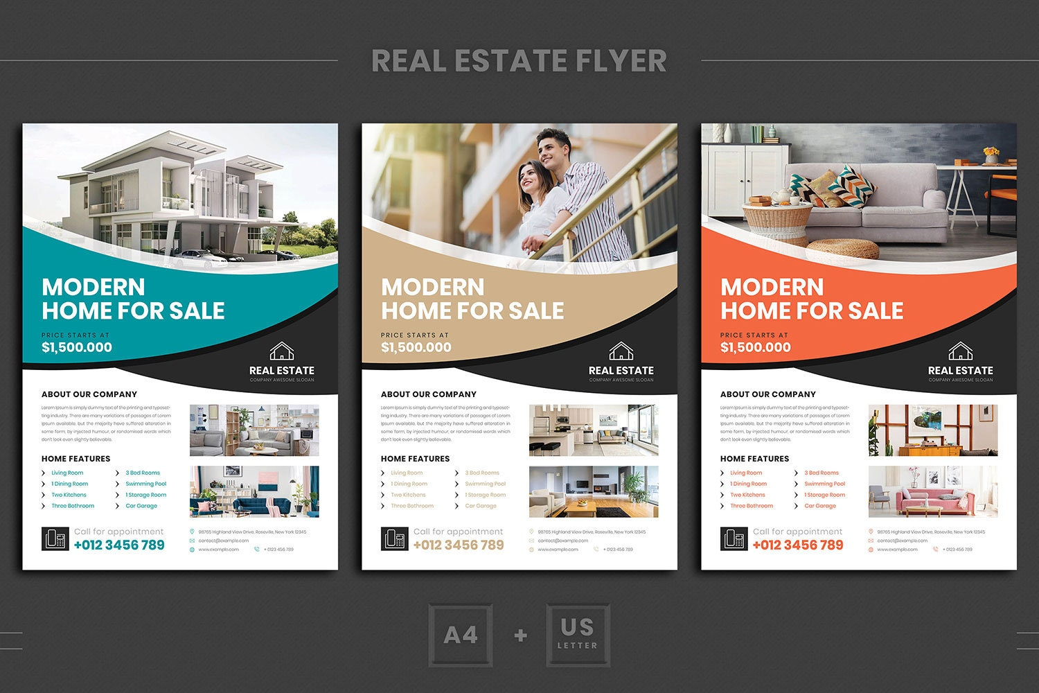 Real estate flyer template | Apartment sale flyer | Luxurious real estate |  Modern real estate template | Promotional flyer | Single sided