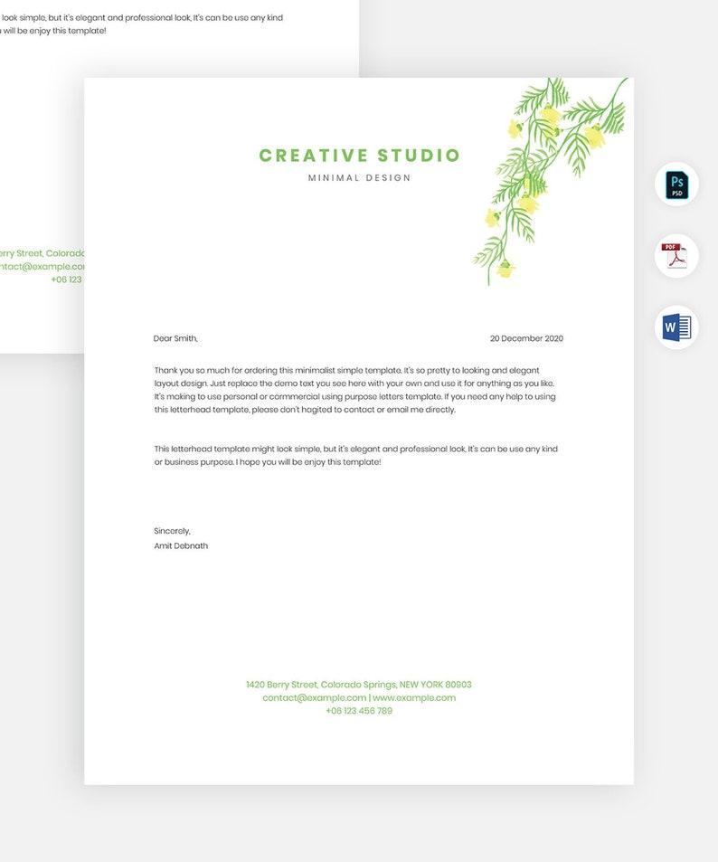 Elegant Letterhead Template Microsoft Word Letterhead Etsy