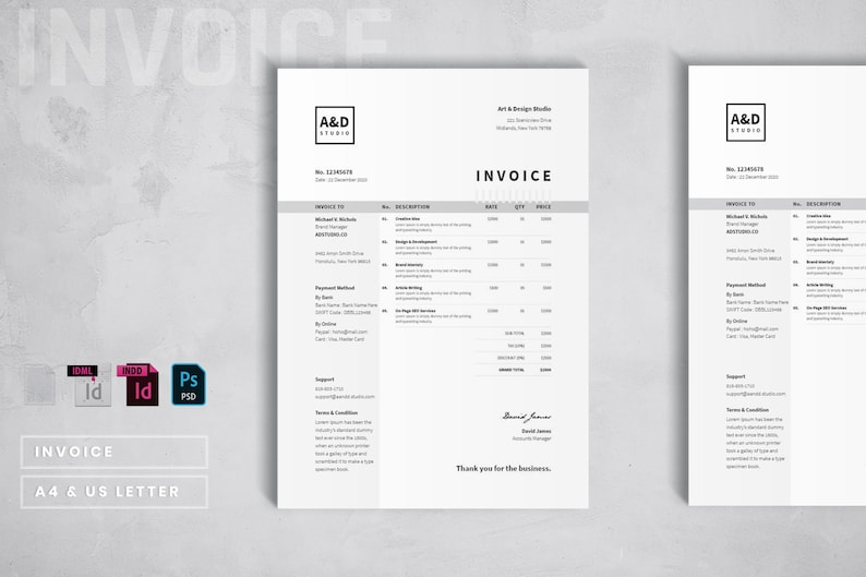 modern invoice template black and white invoice design etsy. Black Bedroom Furniture Sets. Home Design Ideas