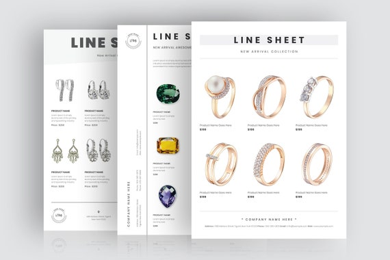Jewelry Catalog Template Jewelry Line Sheet Template Portrait Line Sheet Layout Wholesale Line Sheet Minimal Line Sheet Template Bundle