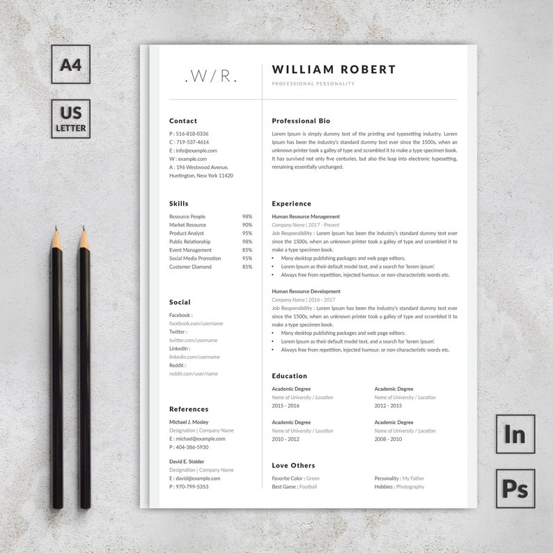 Elegant Resume With Cover Letter CV Design Professional Etsy