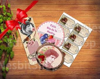 """Kit imprimibles E. Nesbit. Especial Día de la Madre. Marcapáginas. Etiquetas """"de....para"""". Imagen Espejo. Tarjeta felicitación."""