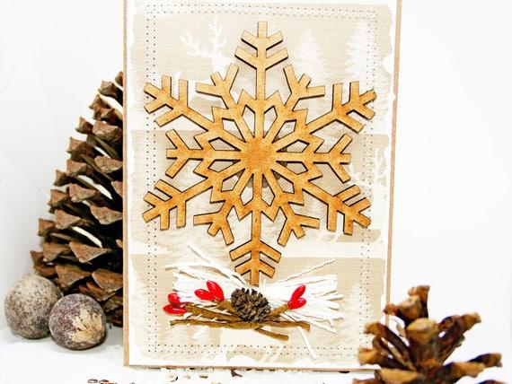 Merry Christmas Card Gift Xmas Scrapbook Card Christmas Wood Snowflake Cards Xmas Postcard Card Gifts Christmas Happy New Year Card