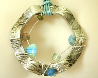 Silver and Blue Circular Pendant - Wire-Wrapped with Glass Beads