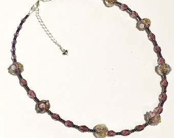 Vintage- Style Beaded Necklace with Purple/Amethyst Glass Beads Inc. Lampwork Beads
