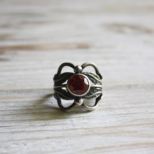 Vintage silver rings for women size 10 Vintage chunky rhinestone ring Antique Soviet jewelry