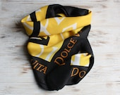 Vintage scarf for Christian Dior Vintage yellow black square scarf Vintage foulard Vintage head scarf 40th birthday gift Wife vintage gift