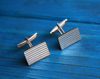 Cufflinks for men Antique cufflinks Vintage soviet cufflinks Groom cufflinks Silver tone cufflinks Vintage cufflinks men Cufflinks for groom