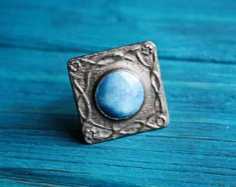 Blue pewter brooch Square brooch Geometric brooch Birthday gift idea for mom Blue ceramic brooch Ruskin brooch Pewter brooch Coat pin brooch