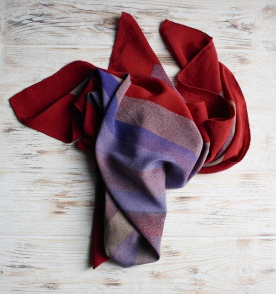 Vintage square silk Louis Feraud scarf Vintage red