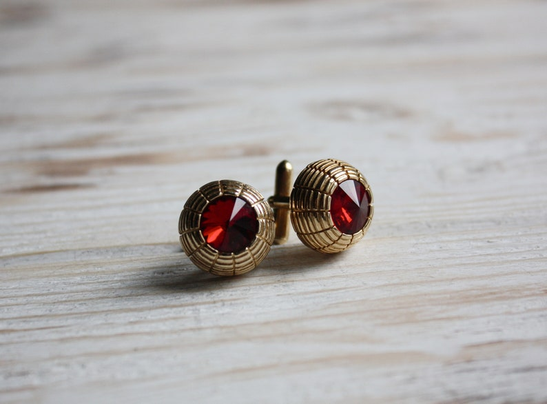 Vintage wedding groom cufflinks Retro red cuff links for women Unisex urban jewelry Vintage mens jewelry gift Father/'s Day gift
