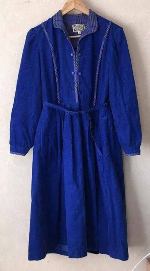 Vintage Marion Donaldson corduroy dress Retro blue
