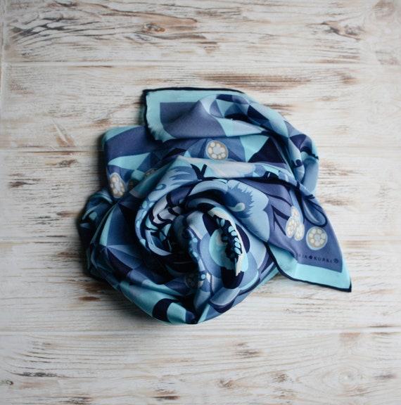 Vintage square silk head scarf Marja Kurki floral