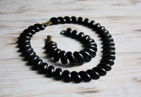 Vintage Napier black enamel necklace and bracelet