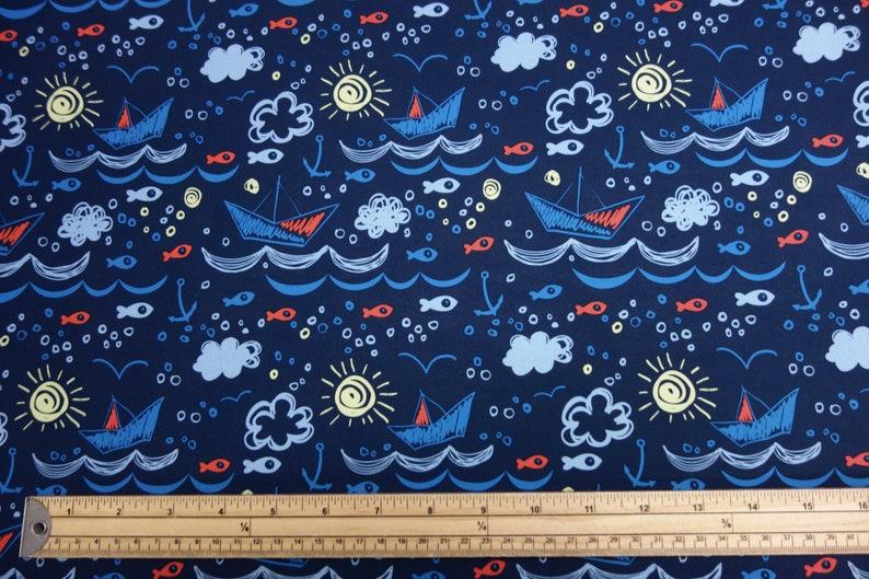 Showerproof Softshell Fleece Fabric Material Printed Camo Shark Blue 147cm Kids