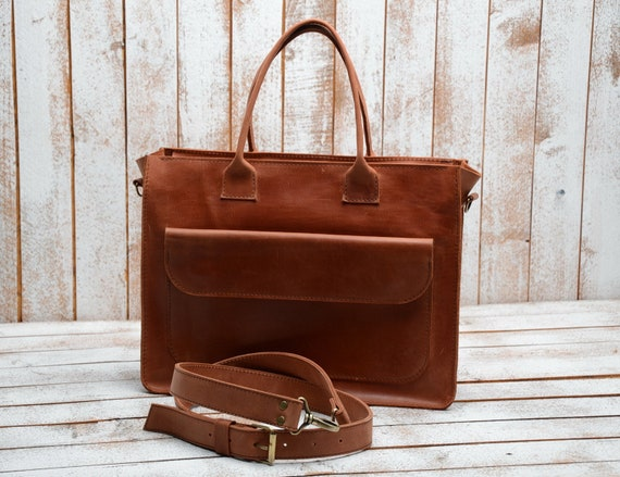 Leather handbags leather laptop bag