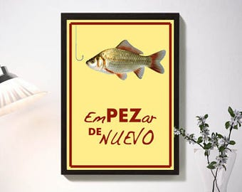 "Start of Nuevo""lámina red yellow color, fish hook, affiche, poster, reproduction, illustration, original design, nice gift love, wall art"