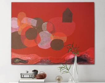 """A house in the Clouds """"canvas, original painting, art very nice, acrylic paint, paper collage, red picture, hand painting, canvas, painting"""