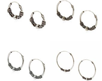 c3ecf5d0c Set of 4 pairs of solid 925 Sterling silver Baltic style hoops earrings in  sizes 10
