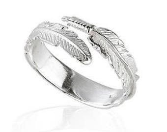 Silver Ring religieux Ring Sterling Silver Angel Feather Ring
