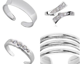 Set of four 925 solid Sterling Silver Toe Rings ,5cz,3 band,plain,jewel twist  comes gift boxed