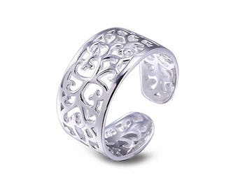 925 solid Sterling Silver Filigree Toe Ring Gift Boxed