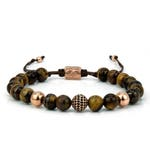 TIGER EYE | Beaded Mens Bracelet, Tiger Eye, CZ Spacer, Sterling Silver, Rose Gold Plated, Mens Jewelry, Gift for Men, Anniversary Gift