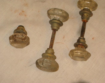 vintage lot of used glass door knobs 7003bt - Antique Glass Door Knobs