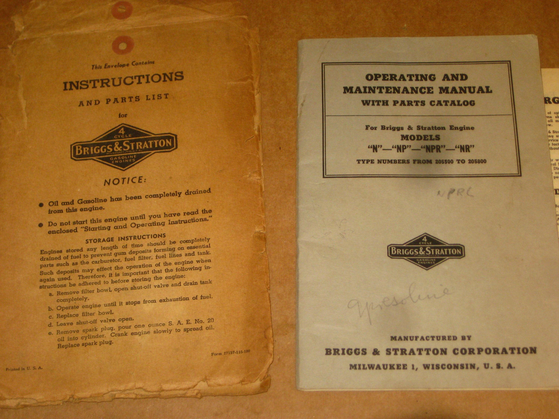 Briggs Stratton Parts Catalog And Engine Model Operating Maintenance Manual 3000x2250