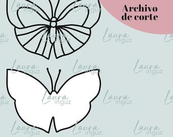 CUT FILE Mariposa - Archivo de corte digital PNG y jpg - Digitroquel para Scrapbooking, shaker, manualidades, project life. Laura Inguz