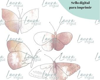 Sello Digital MARIPOSAS para IMPRIMIR de Invierno y Navidad. Scrapbooking y cardmaking para adultos y niños. Digistamp By Laura Inguz