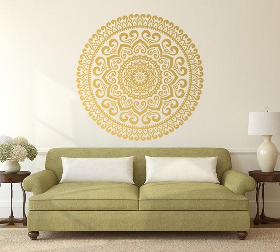 Gold Mandala Vinyl Wall Decal, Master Bedroom Decor, Large Mandala Decor,  Boho Mandala Vinyl Decal, Indian Decor, Gift for Women #014