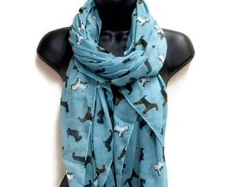 f245aaae44 Dogs Pattern Teal Blue Scarf
