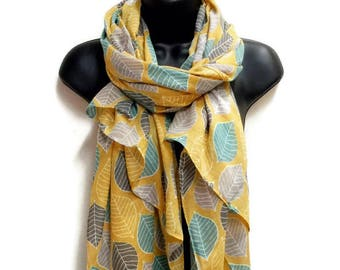 c53ef315b Leafs Pattern Yellow Scarf,Spring Summer Scarf,Gifts For Her,Gifts For  Mother,Women Scarf,Printed Scarf,Christmas Gifts