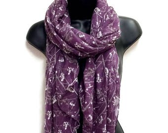 Small Leaves Stem Purple Scarf,Spring Summer Scarf,Autumn Scarf,Scarf And Wraps,Gifts For Her,Gifts Gor Mother,Printed Scarf,Christmas Gifts