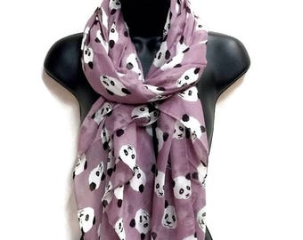 Panda Purple Scarf,Spring Summer Scarf,Autumn Scarf,Gifts For Her,Gifts For Mother,Women Scarf,Printed Scarf,Christmas Gifts,Accessories