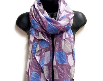 Leafs Pattern Turquoise Purple Scarf,Spring Summer Scarf,Gifts For Her,Gifts For Mother,Women Scarf,Printed Scarf,Christmas Gifts