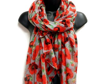 Poppy Blooms Gray Scarf,Spring Summer Scarf,Gifts For Her,Gifts For Mother,Women Scarf,Printed Scarf,Handmade,Accessories,Christmas Gifts