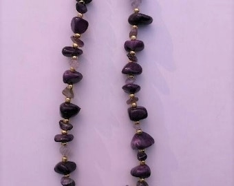 Purple stones with gold accents necklace