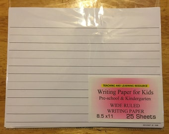 Writing Paper for Kids - Wide Ruled Writing Paper  - 11 X 8.5 in, 20 lb, 25 sheets