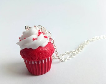 Red Velvet Cupcake Necklace, Food Jewelry, Miniature Food,  Gift for Her, Handmade, Kawaii Jewelry